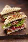 stock photo of bacon  - close up of fresh sandwich with ham - JPG