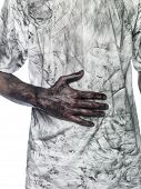 picture of doughy  - Dirty hand towards a dirty t - JPG