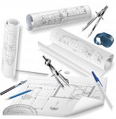 stock photo of reconstruction  - vector elements of the drawings for the construction of buildings architecture - JPG