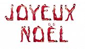 Elfs forming the phrase 'Joyeux Noel' isolated on white