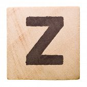 Block with Letter Z isolated on white background