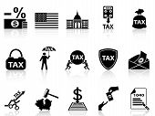 stock photo of greed  - isolated black tax icons set from white background - JPG