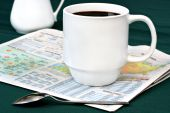 Coffee On Newspaper Weather Section poster
