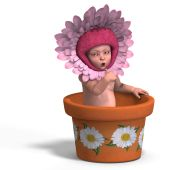 image of flower pot  - rendering of a young baby in a flower - JPG