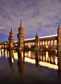 Oberbaum Bridge over the Spree River in Berlin, Germany.