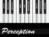 High resolution concept or conceptual white perception text piano keys word cloud or tagcloud isolat