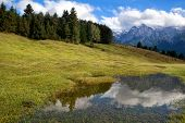 High Alps And Blue Sky Reflected In Wild Lake