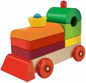 Wooden cubes colored locomotive toy