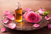 foto of perfume  - rose flower and essential oil - JPG
