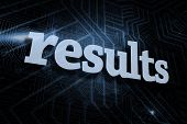 The word results against futuristic black and blue background