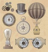 stock photo of steampunk  - Vintage Steampunk vector design set - JPG