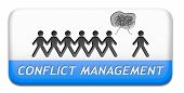picture of conflict couple  - conflict management in business at work or between couple with different interest solve the problem and find resolution - JPG