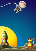 picture of outerspace  - Illustration of an astronaut and a robot in the outerspace - JPG