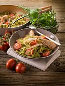 stock photo of norway lobster  - green tagliatelle with norway lobster - JPG