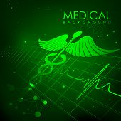 illustration of Caduceus symbol on heart beats in Healthcare and Medical Background