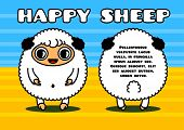 stock photo of kawaii  - Kawaii style card with sheep characters couple - JPG