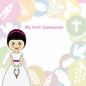 stock photo of chalice  - Girl first Communion Invitation Card - JPG