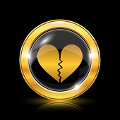 foto of heartbreak  - Golden shiny icon on black background  - JPG