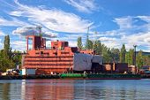 stock photo of shipbuilding  - Part of large cargo ship under construction - JPG