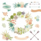 stock photo of terrarium  - Wedding graphic set with succulents - JPG