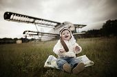 picture of bomber jacket  - sweet little baby dreaming of being pilot - JPG