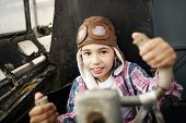 picture of bomber jacket  - little happy boy dreaming of being pilot - JPG