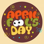 stock photo of fools  - April Fools Day funky concept with stylish funky text on colorful abstract background - JPG