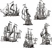 stock photo of sailing vessels  - Black and white sketches of sailing ships - JPG