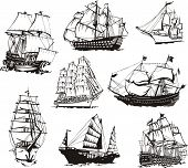 stock photo of historical ship  - Black and white sketches of sailing ships - JPG