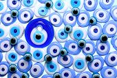 picture of blue things  - Evil eye amulets Protect From Bad Things With Isolated White Background - JPG