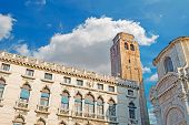 stock photo of labia  - Palazzo Labia and San Geremia church under a cloudy sky - JPG