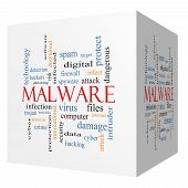 stock photo of malware  - Malware 3D cube Word Cloud Concept with great terms such as trojan virus infection and more - JPG