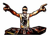 picture of disc jockey  - illustration of disc jockey in action on white - JPG