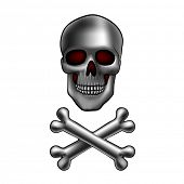 picture of skull cross bones  - metal skull with crossed bones - JPG