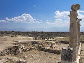 picture of artemis  - Columns and ruins of ancient Artemis temple in Hierapolis Turkey - JPG