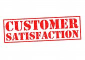 stock photo of clientele  - CUSTOMER SATISFACTION red Rubber Stamp over a white background - JPG