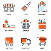 pic of gift basket  - Set of shopping and retail outline vector icons depicting a shop  label  shopping bag  discount  basket  gift  shipping  delivery and a shopping cart - JPG