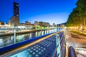 stock photo of calatrava  - a view of Bilbao river from Calatrava Bridge to the center of the city - JPG