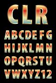 pic of grammar  - vector 3d golden alphabet with color reflection  - JPG