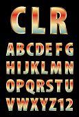 stock photo of grammar  - vector 3d golden alphabet with color reflection  - JPG