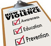 stock photo of stop fighting  - How to Stop Violence words on a check list including Awareness - JPG