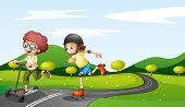 picture of playmates  - Illustration of the kids playing at the road - JPG