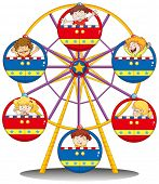 pic of playmate  - Illustration of the happy kids riding the ferris wheel on a white background - JPG