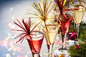 pic of cocktail  - Champagne cocktail for  New Year and Christmas Celebration - JPG