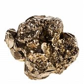 pic of pyrite  - macro shot of pyrite mineral isolated over a pure white background - JPG