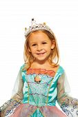 image of princess crown  - Little girl standing in costume of princess with crown  - JPG