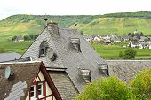 stock photo of moselle  - view of Ellenz Poltersdorf village from Beilstein town on Moselle river Germany - JPG