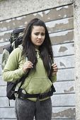 picture of homeless  - Homeless Teenage Girl On Street With Rucksack - JPG