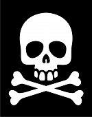 stock photo of skull crossbones  - White skull and crossbones symbol on black background - JPG