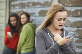 image of teenagers  - Teenage Girl Being Bullied By Text Message